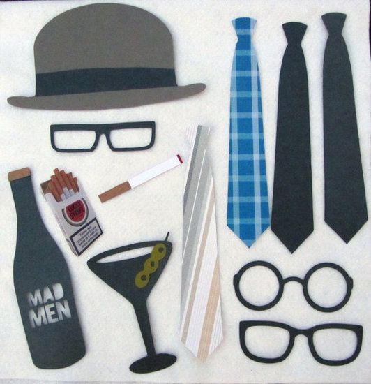 Hot Props: Turn your photo booth into a Mad Men scene with a Mad Men photo booth prop collection ($53) or this Mad Men party on a stick set ($57).