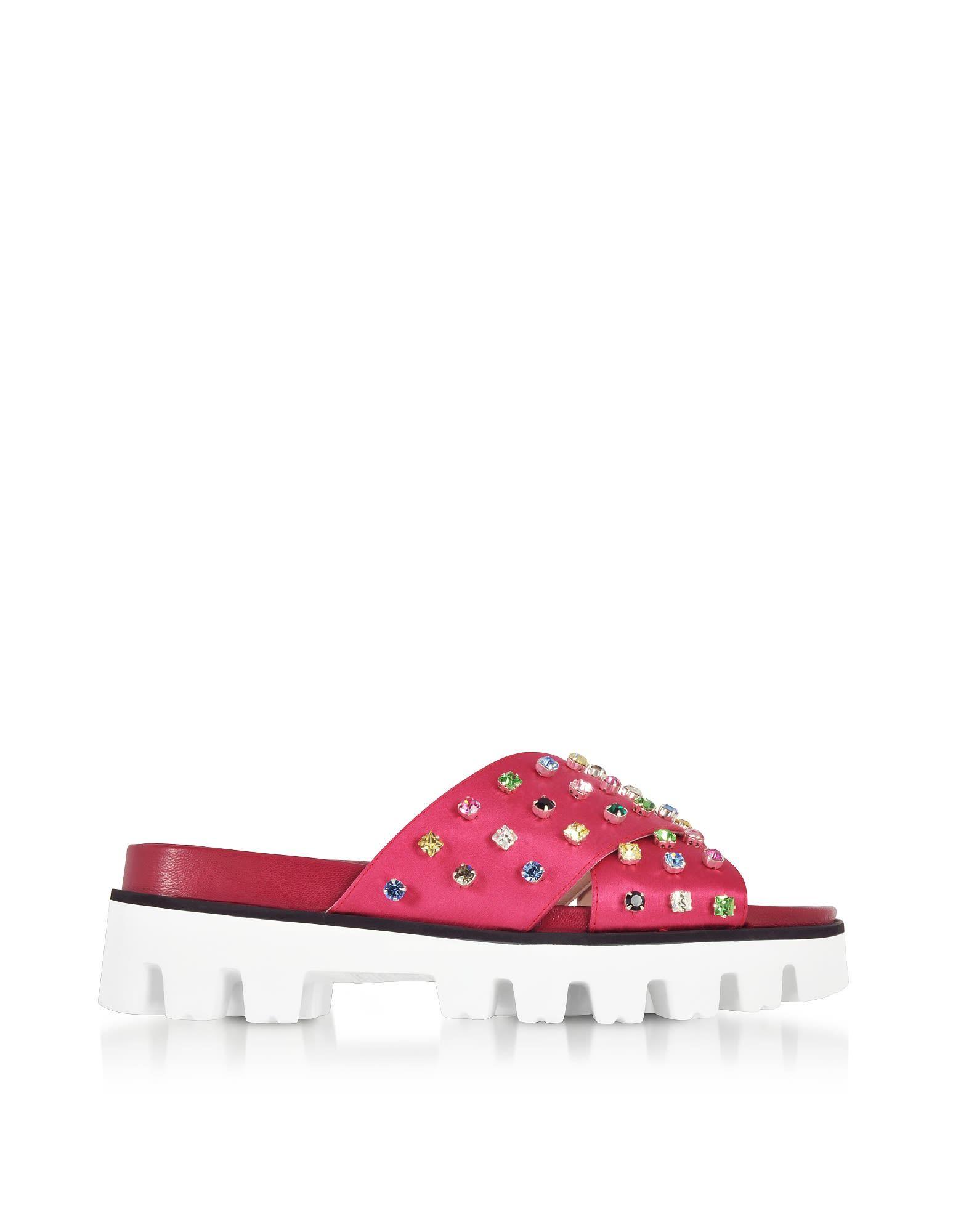 RED Valentino Designer Shoes, Azalea Canvas Slide Sandals w/Crystals