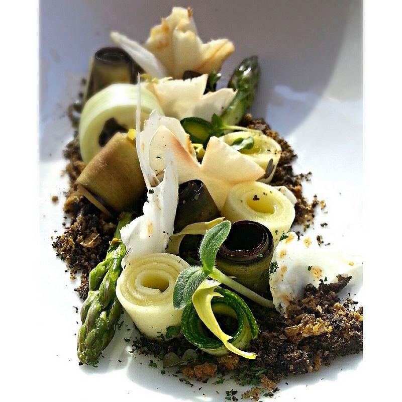 vegetables on herbs/olives soil