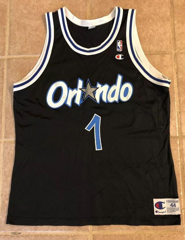 size 40 5713d 6a97b Vintage Mens Champion Orlando Magic Penny Hardaway #1 Black ...