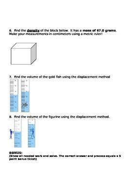 Density Column Worksheet   worksheet