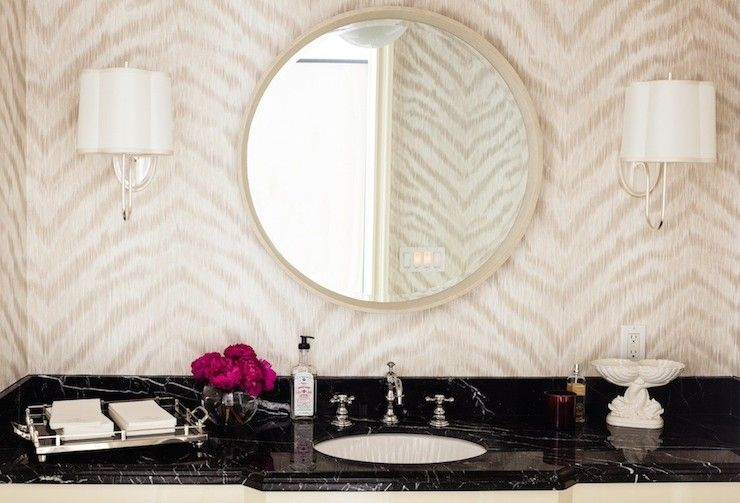 Hillary Thomas Bathrooms Kenneth James Zambia Wallpaper Simple Scallop Sconce Oval Vanity Mirror Ov Amazing Bathrooms Bathroom Wallpaper Bathroom Design