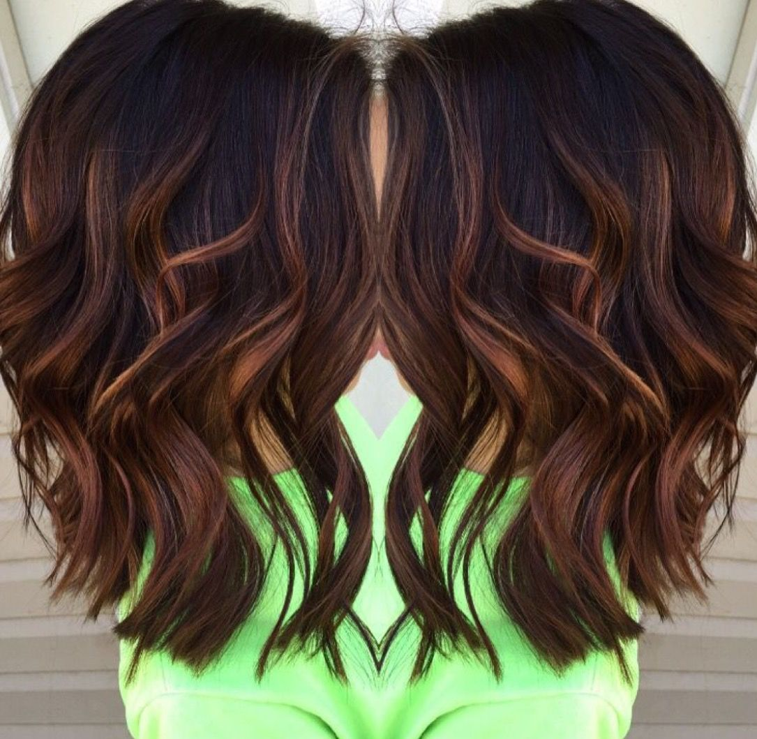 Dark Toned Balayage With Deep Chocolate Roots Dropping Down To