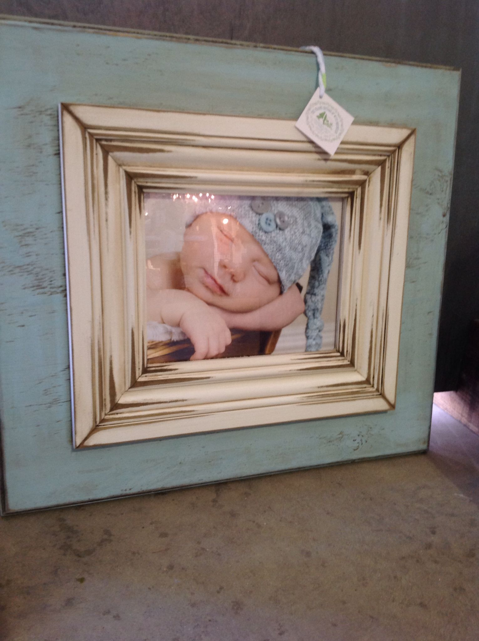Tiffany Blue 11x14 Distressed Wooden Picture Frame The Frame Cottage Of Wye Mountain Distressed Picture Frames Painted Picture Frames Diy Frame