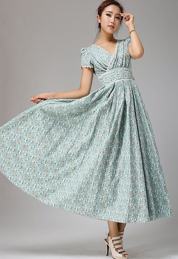 Floral maxi linen dress, floral prom dress, linen dress, bridesmaid dress, woman dress, party dress, 50s dress, custom dress (665)