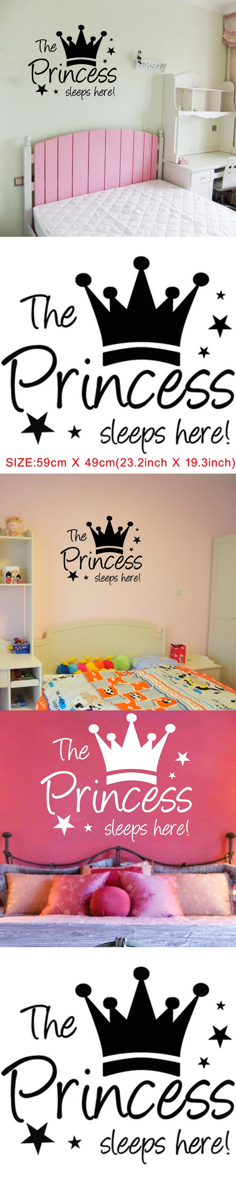 The Princess Sleeps Here Girls Wall Sticker Cute Crown DIY Home - How to make vinyl wall decals with cricut