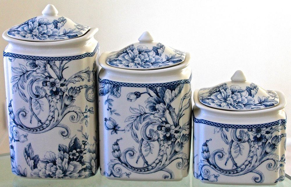 Decorating With Blue And White China: 222 Fifth Adelaide Blue 3 Piece Canister Set With Lids New
