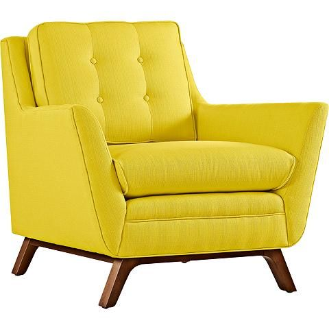 Modway Remark Mid-Century Modern Accent Arm Lounge Chair with Upholstered Fabric in Sunny