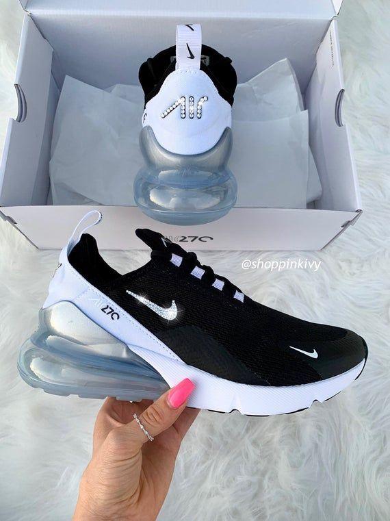Black Air Max 270   Black nike shoes, Nike air shoes, Cute
