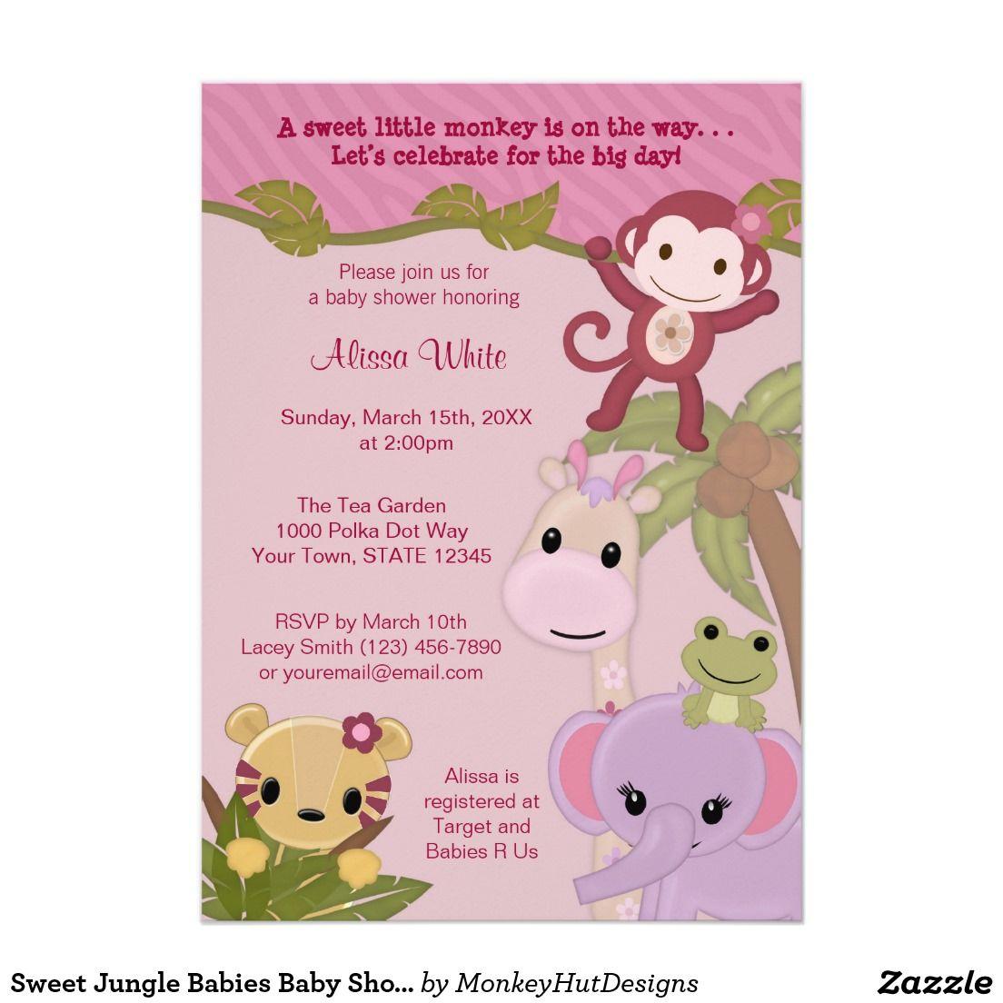 Sweet jungle babies girl baby shower invitation safari 5 x 7 shower invitations stopboris Gallery
