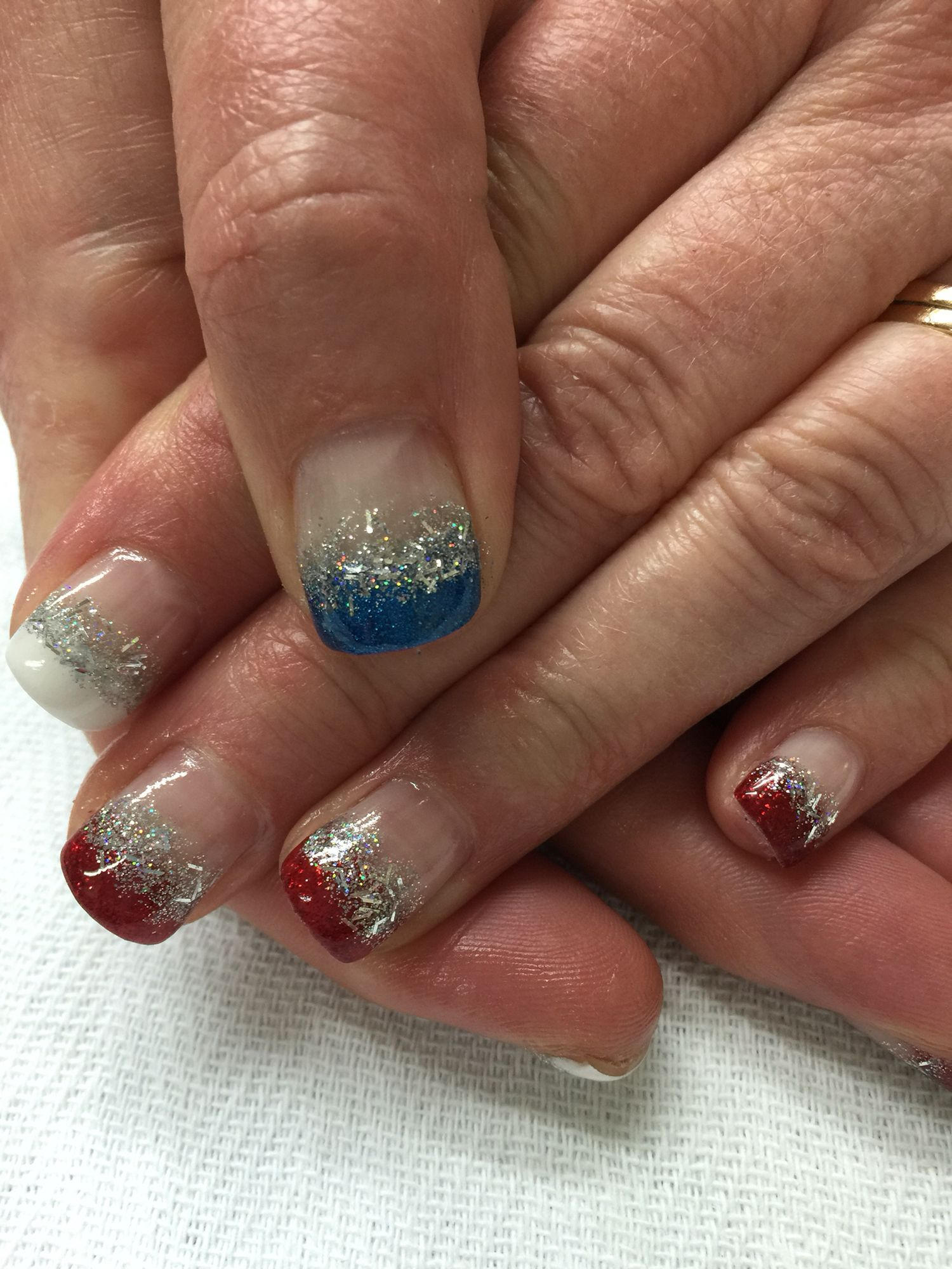 Memorial Day patriotic red white blue and silver glitter French gel ...