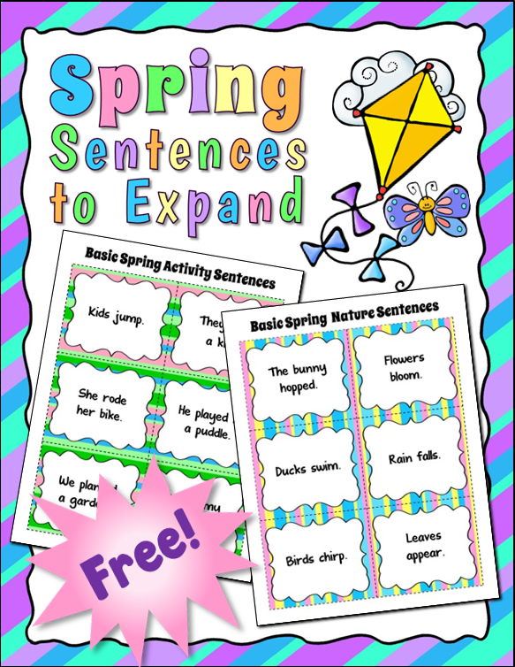 Free Spring-themed Sentences to Expand in this Corkboard Connections post by Laura Candler. Use these basic sentences in a lesson on how to expand boring sentences by adding details.
