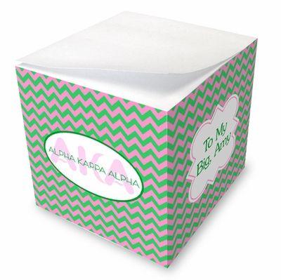 Alpha Kappa Alpha Chevron Sticky Note Memo Cube