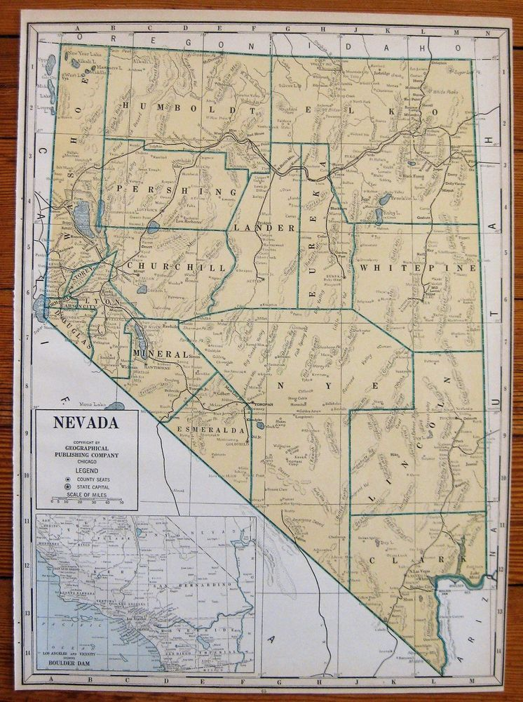 1944 Antique Nevada State Map Vintage Map Of Nevada Rare Poster