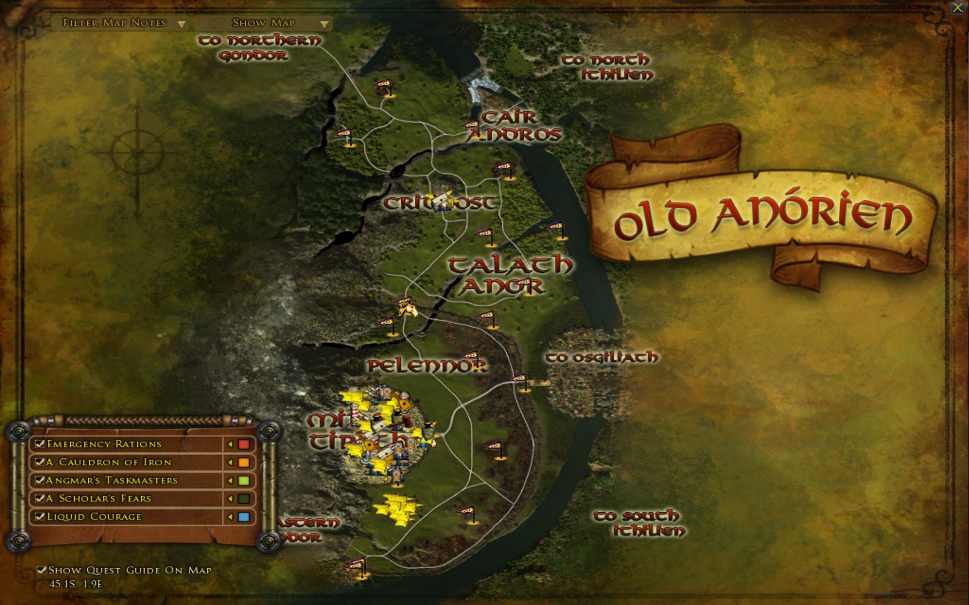 middle earth old anorien map