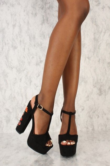 7987b974e62 Sexy Black T-Strap Open Toe Platform Chunky High Heels Faux Suede ...