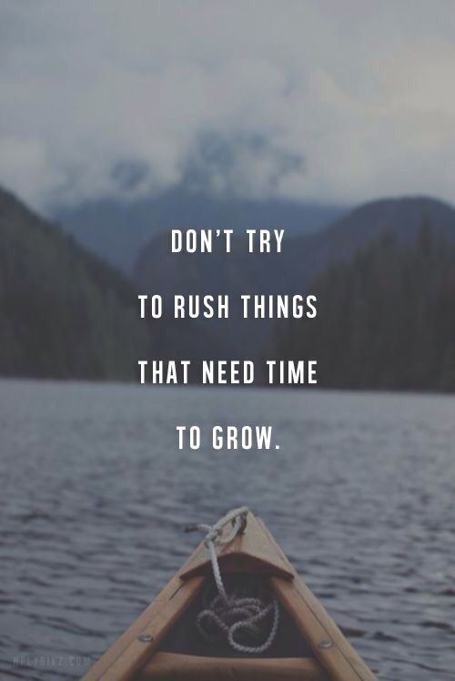 Don't try to rush things