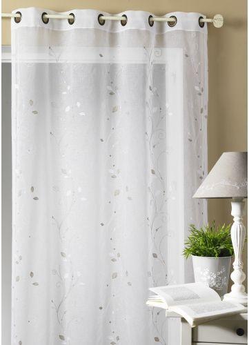 voilage tamine brod e feuillage blanc rideaux voilages voilages et broder. Black Bedroom Furniture Sets. Home Design Ideas