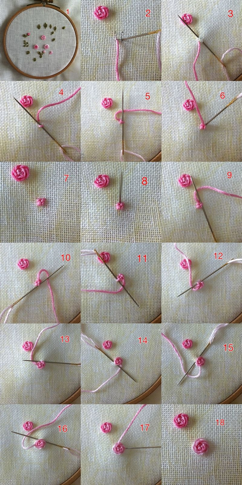 Imagen tutorial: bordado rosa con nudo central