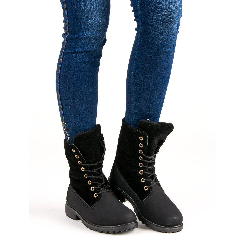 Wiazane Ocieplane Workery Czarne Shoes Winter Boot Boots