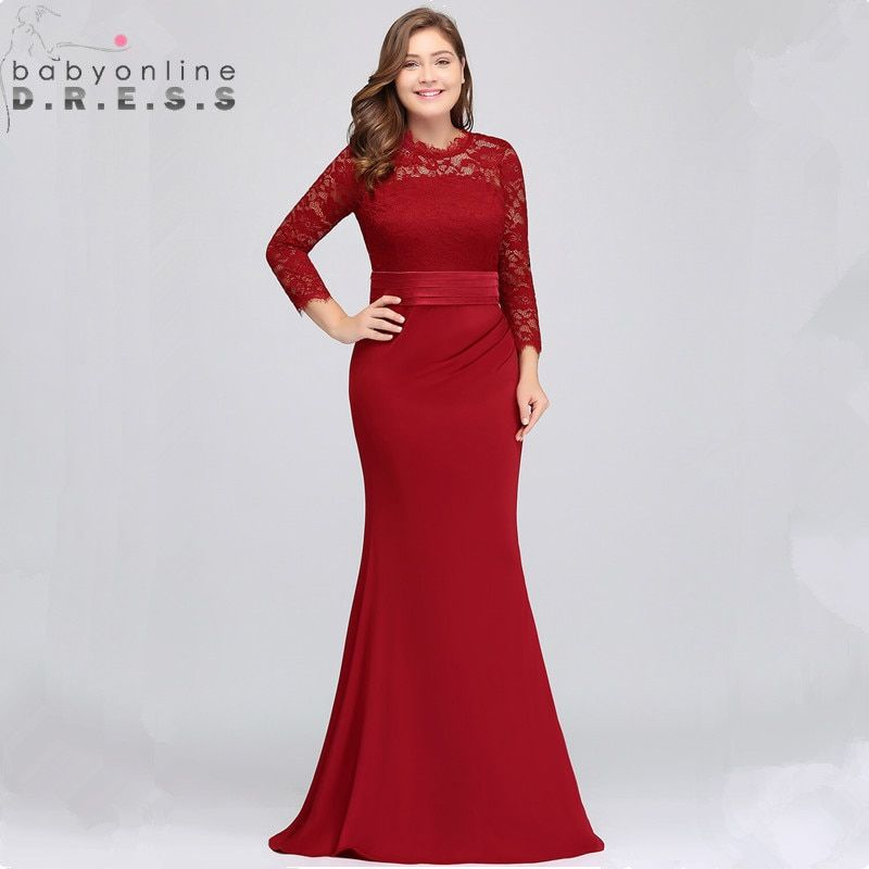 05d701453babf Plus Size Lace Mermaid Long Evening Dress Elegant Three Quarter ...