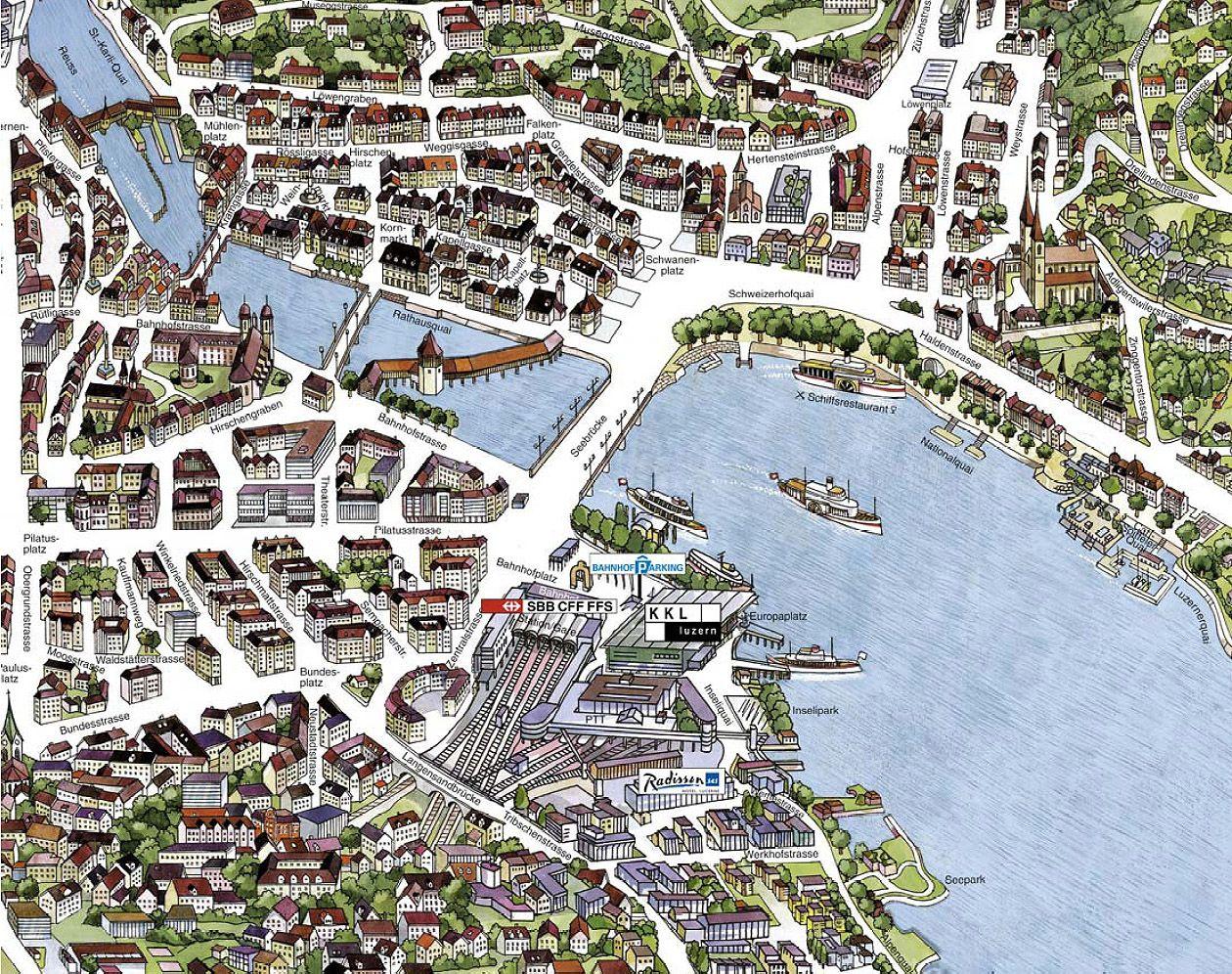 Map of Lucerne, Switzerland in 2019 | Tourist map, Lucerne