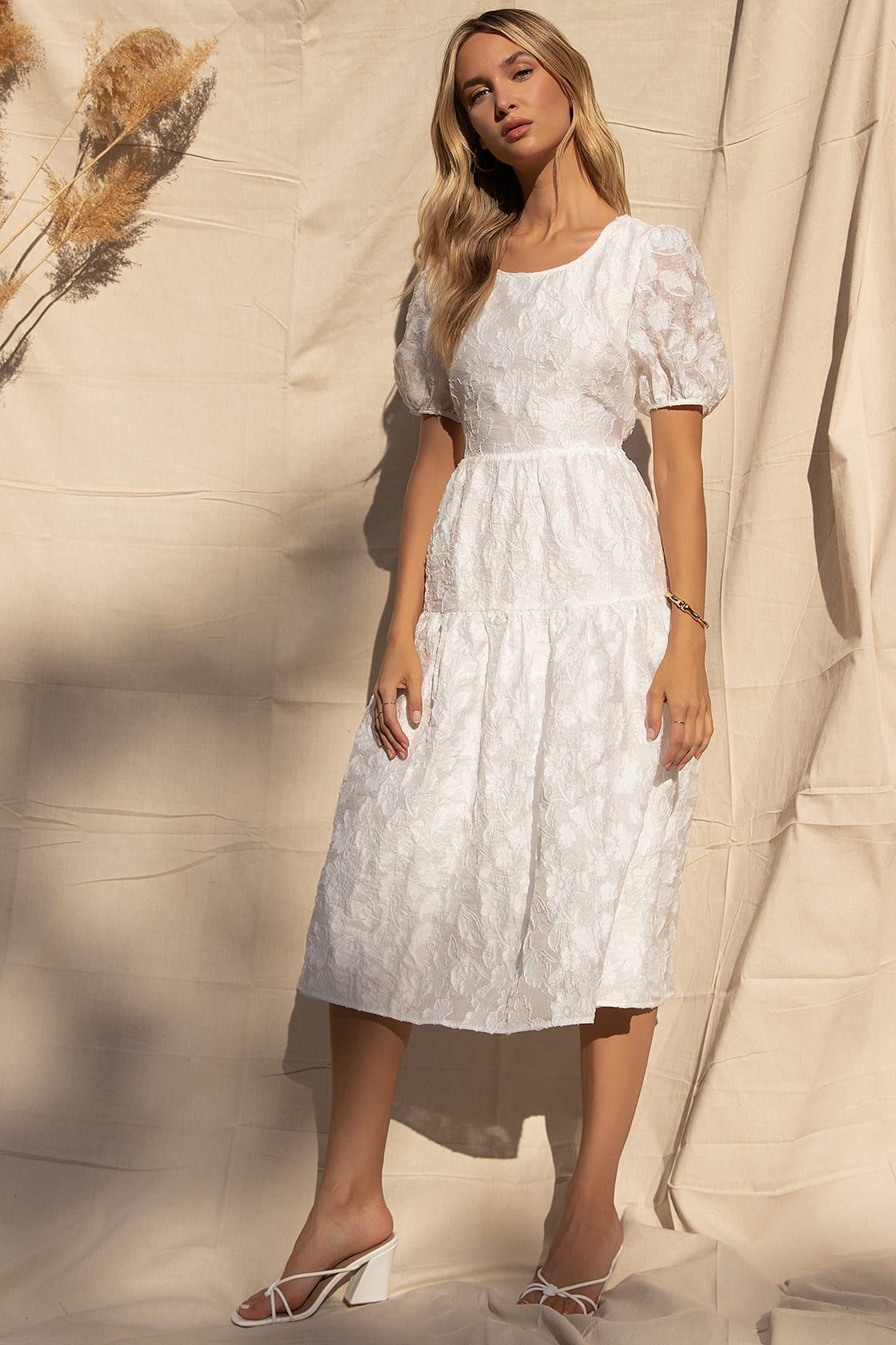 Choose Bliss White Puff Sleeve Tiered Midi Dress White Short Dress Tiered Midi Dress Midi Dress With Sleeves [ 1680 x 1120 Pixel ]