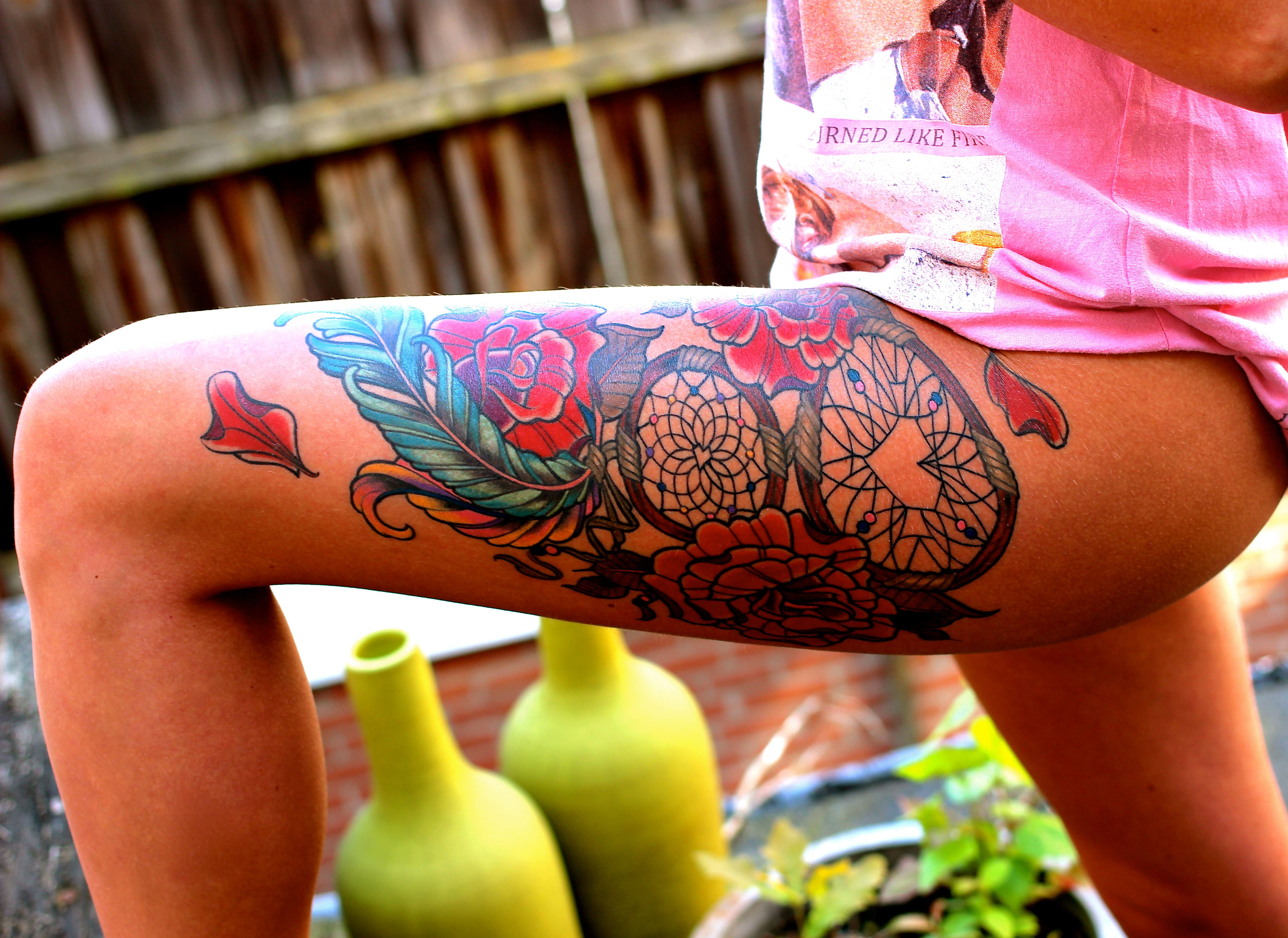 Double Dream Catcher Tattoo dreamcatchertattoo tattoo dreamcatcher legtattoo roses 20