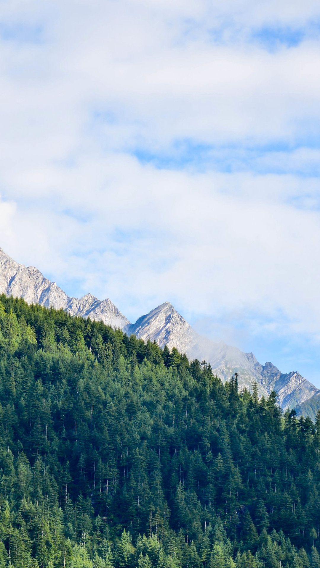 Nature Mountain Sky Blue Green Sunny Summer iPhone 6 wallpaper