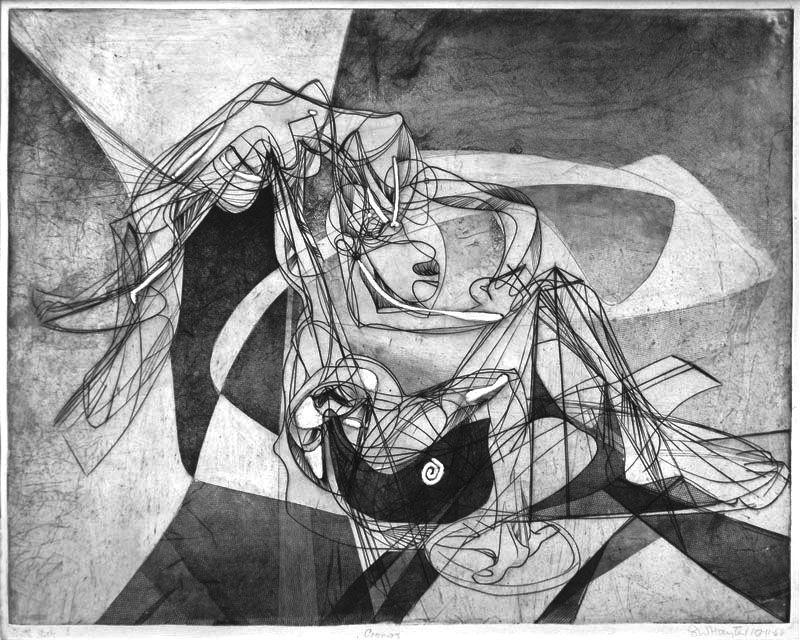 """Stanley William Hayter: """"Cronos"""", 1944; engraving, soft-ground etching, and scorper."""