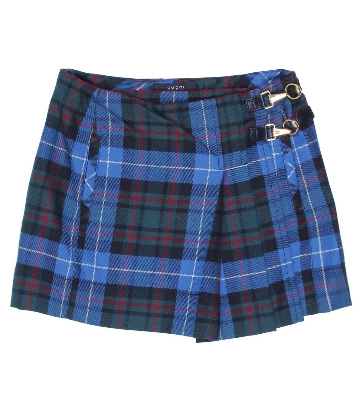 Gucci Blue Tartan Lambs Wool Skirt