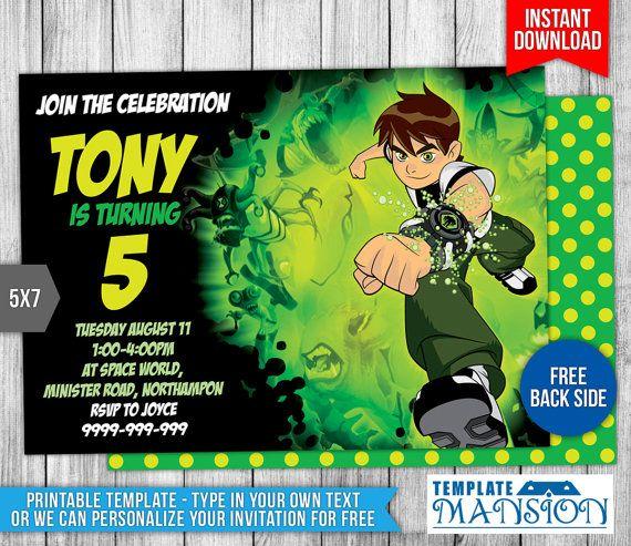 ben 10 invitation ben 10 birthday