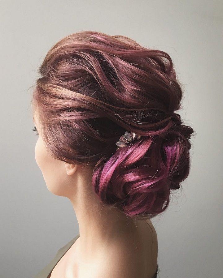 Updo wedding hairstyle inspiration | elegant chignon bridal hairstyle ideas #weddinghair #updo #chignon #sleekhairstyle #hairstyleideas #weddinghairinspiration #updohairstyle #upstyle #purplehair #bridalhair