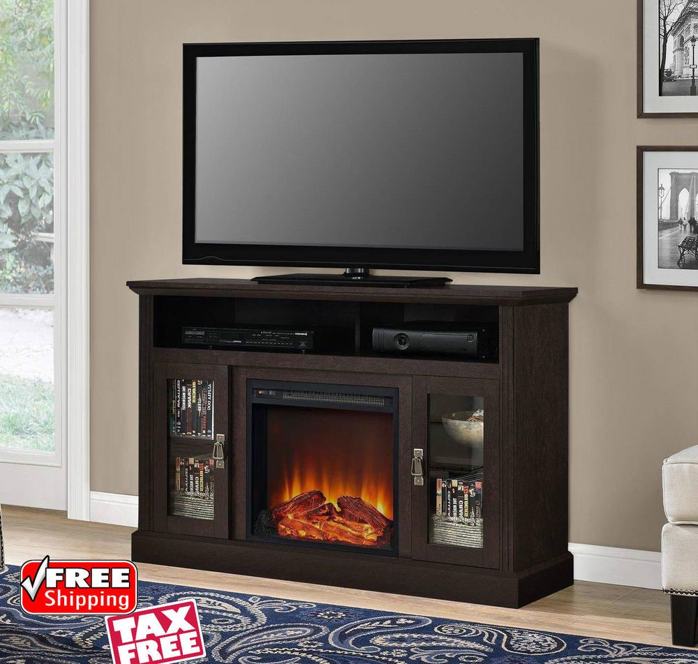Electric Fireplace Tv Stand Media Console Storage Cabinet Log