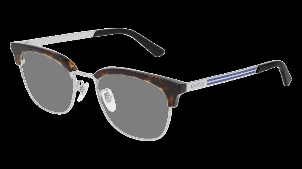 GUCCI GG0698OA RECTANGULAR / SQUARE Eyeglasses For Men – 53-19-145 / GG0698OA-004 HAVANA SILVER / TRANSPARENT DARK