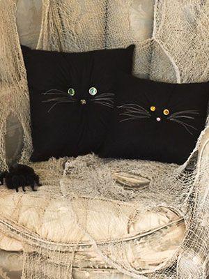 Halloween Crafts Black Cat Pillows Cat shaped pillows Pinterest