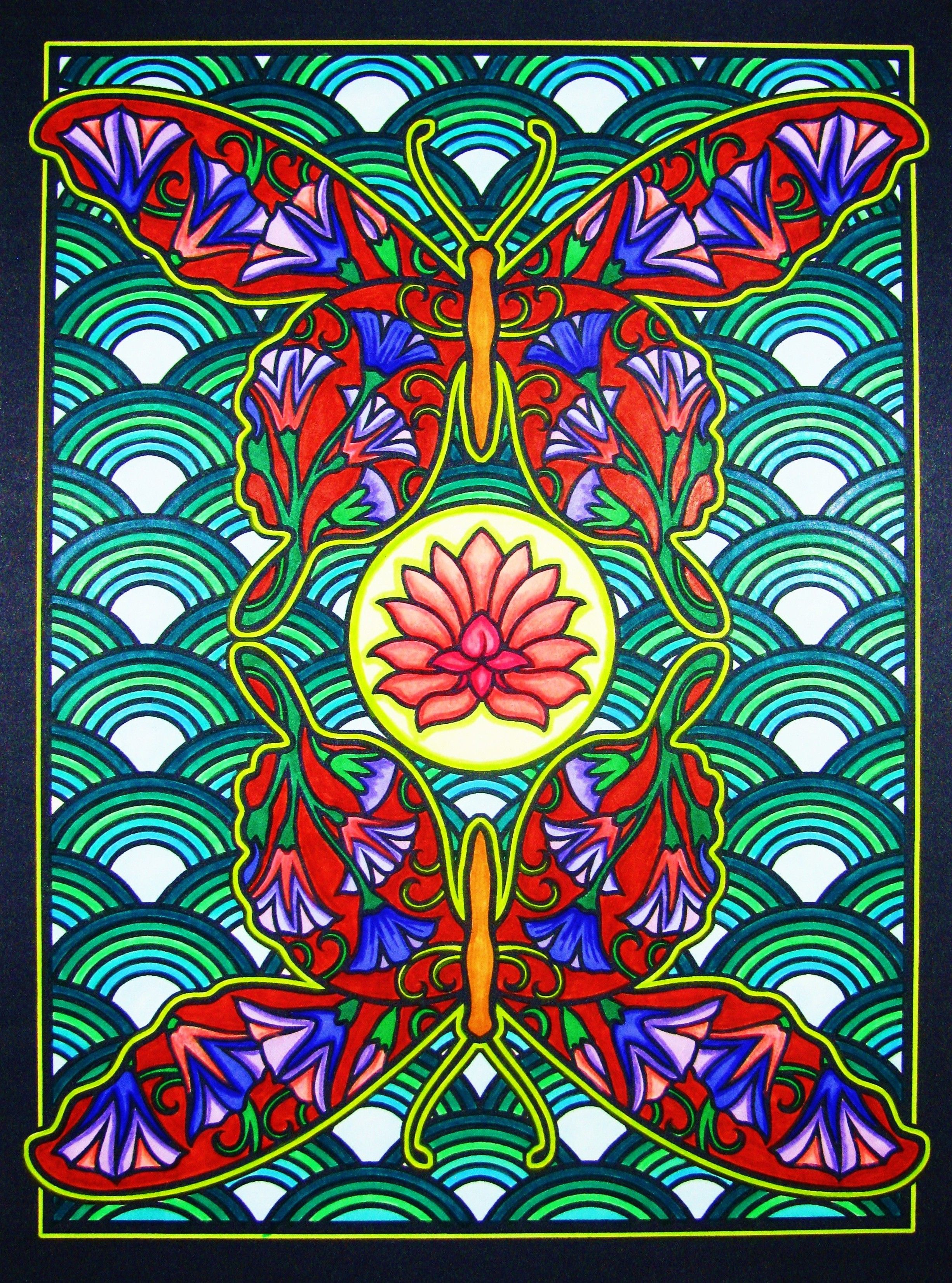 From 'Fanciful butterflies' stained glass coloring book ...