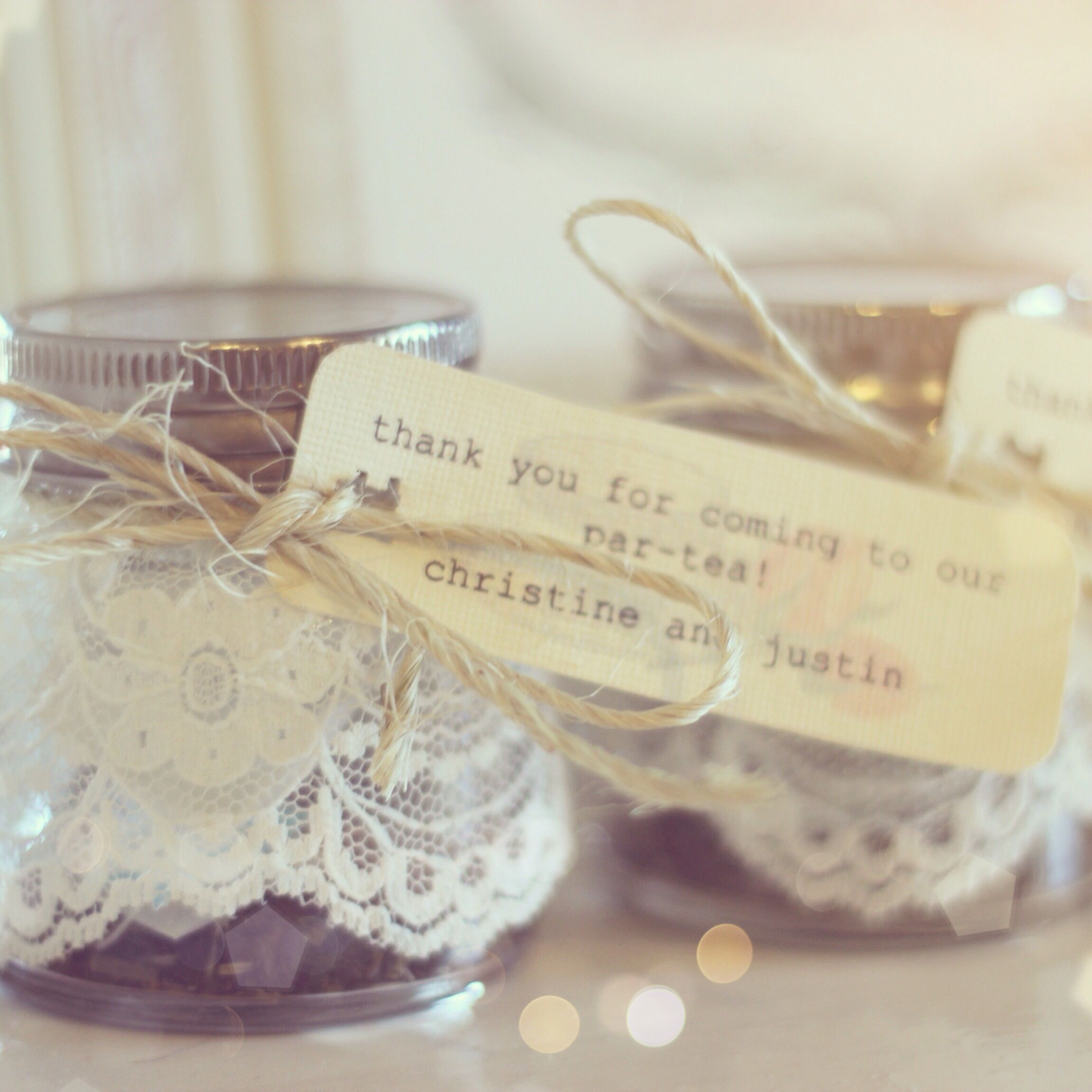 Tea party favor. Mason jar filled with packets of different kinds of ...