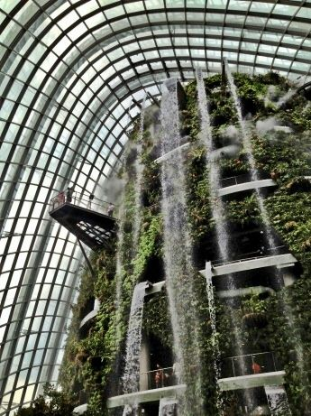 Indoor Waterfall At Gardens By The Bay Singapore Green Building