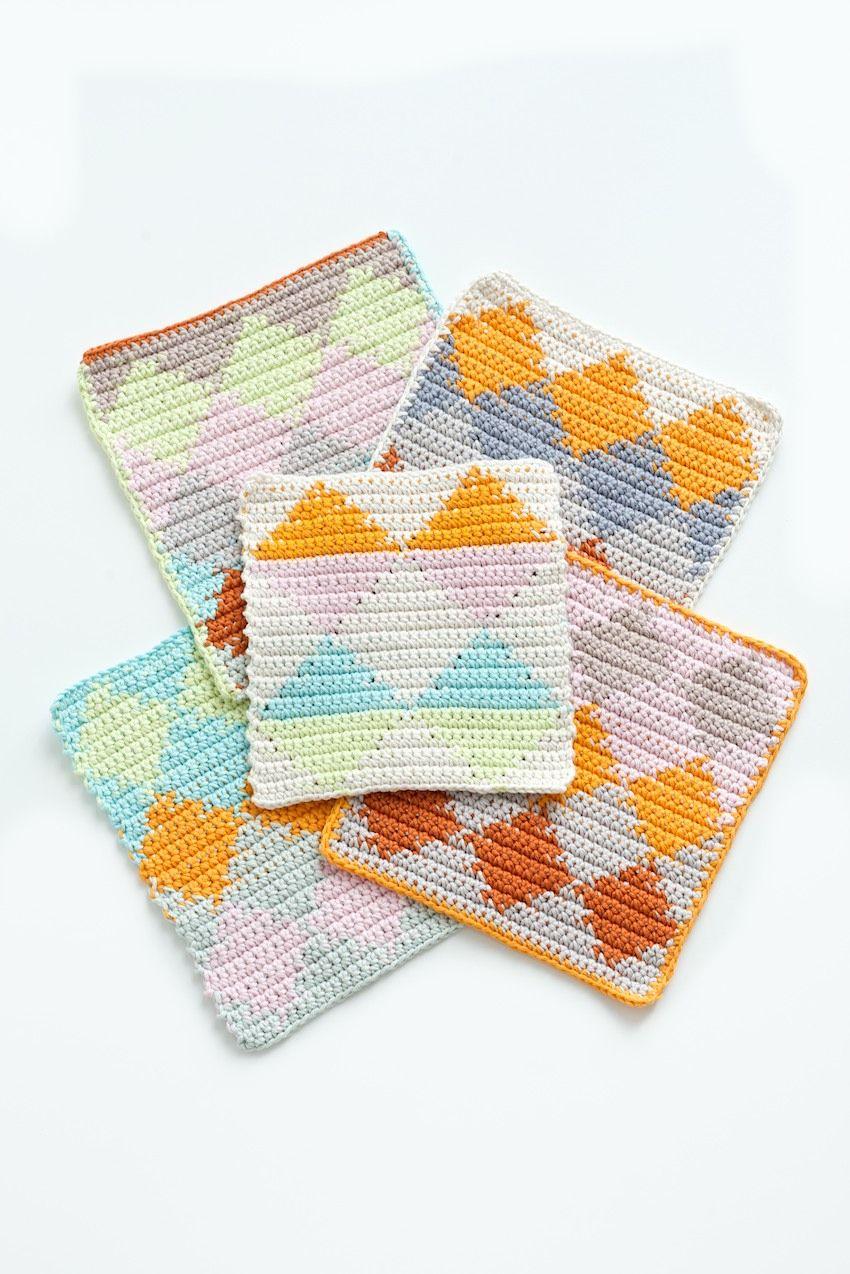 Harlequin Tapestry Crochet dishcloths tutorial | Crochet; Potholders ...
