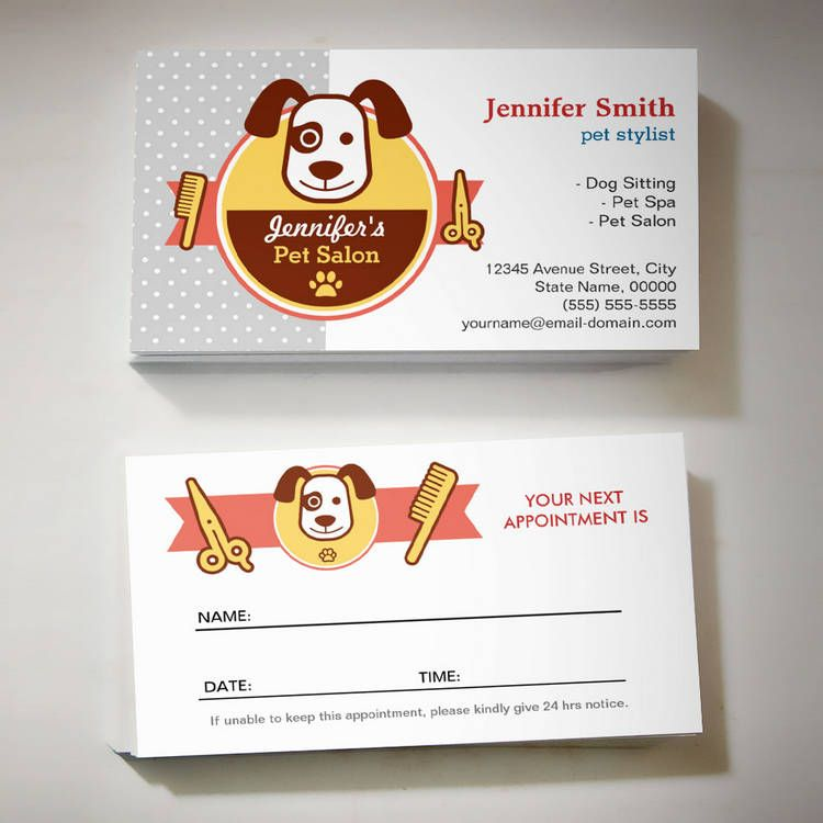 Dog Spa Salon - Appointment Card | Dog spa, Card templates and ...