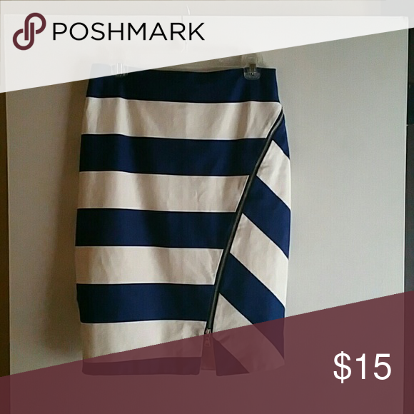 Pencil Skirt Knee length cobalt and white striped pencil skirt with silver zipper accent Express Skirts Pencil