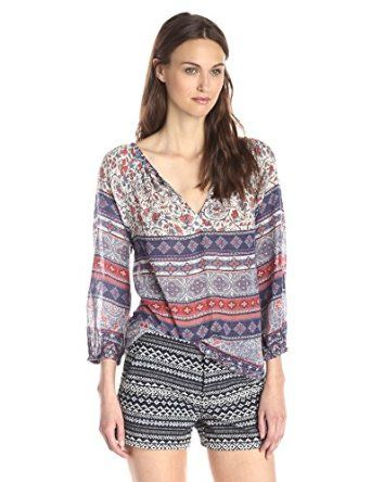 VELVET BY GRAHAM & SPENCER Women's Boho Print Split Neck Blouse   Price: $130.00 & FREE Returns.  Detail:  100% Cotton ,Made in the USA and Imported ,Machine Wash ,Boho-inspired patterned top featuring. peasant sleeves and deep V-neckline #VELVET #Boho