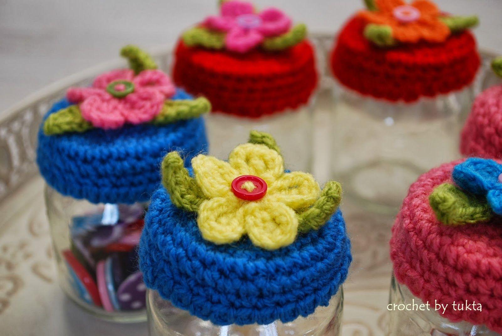 Crochet by Tukta: jar lid cover   Schlüsselanhänger,Deckel ...