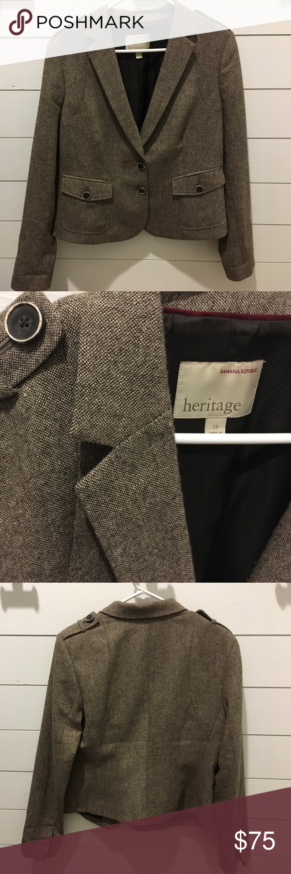 Heritage by Banana Republic blazer Brown with metallic threads, size 12- excellent condition, heritage by banana republic Banana Republic Jackets & Coats Blazers