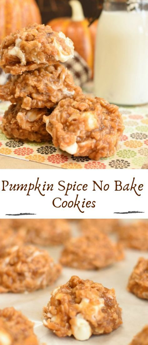 Pumpkin Spice No Bake Cookies #desserts #cakerecipe #chocolate