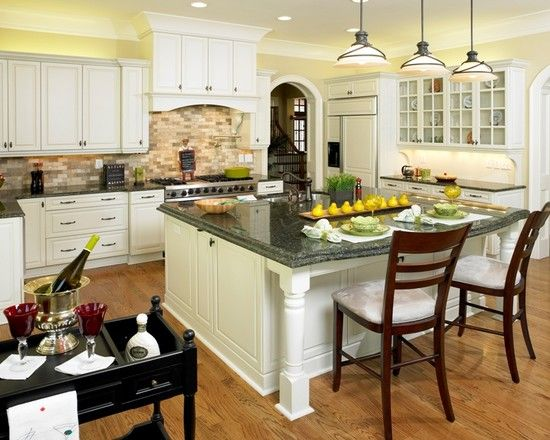 Charming Conventional Kitchen With Erfly Green Granite