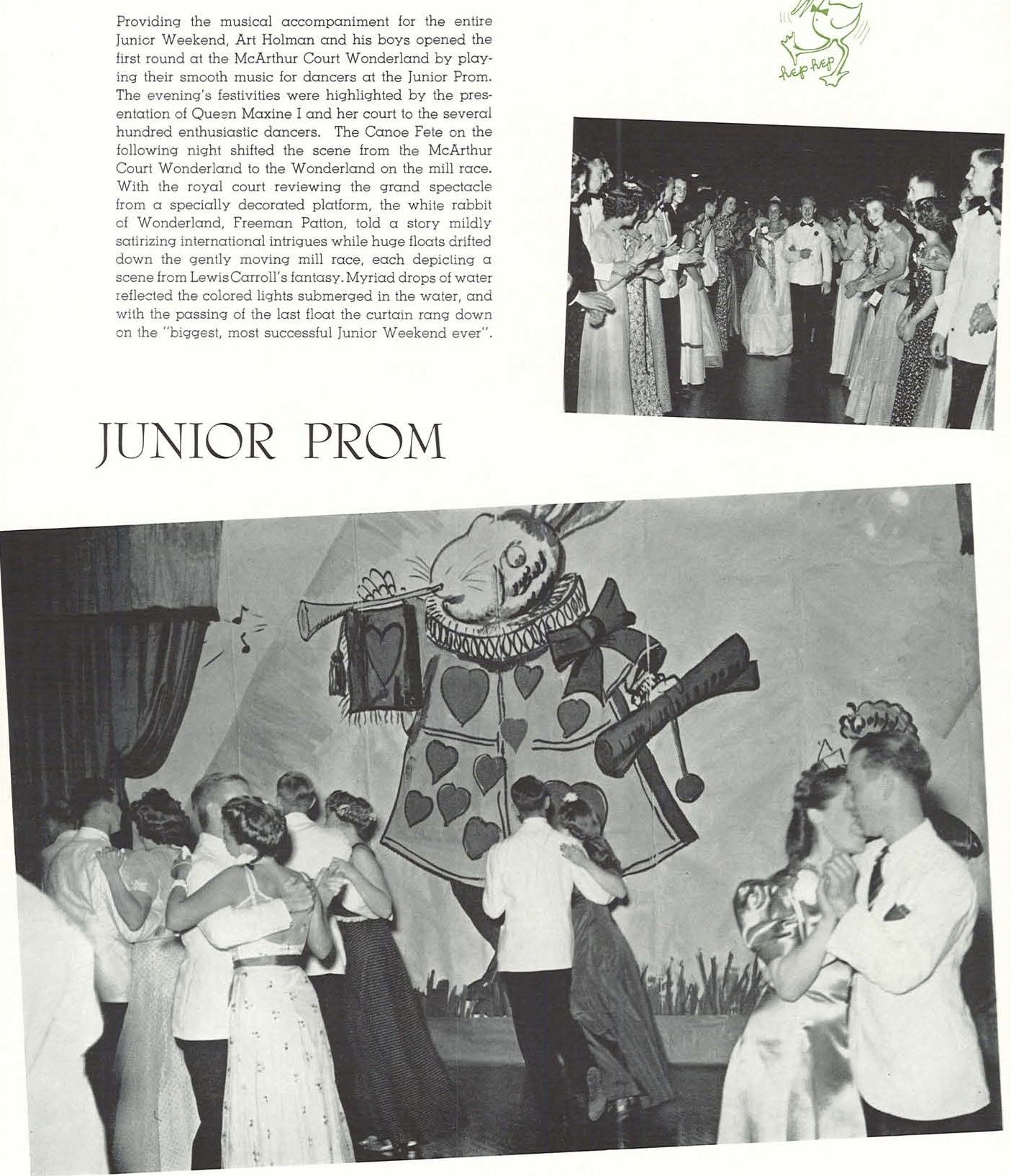 Junior Prom, held during the 1940 Junior Weekend festivities.  From the 1940 Oregana (University of Oregon yearbook).  www.CampusAttic.com