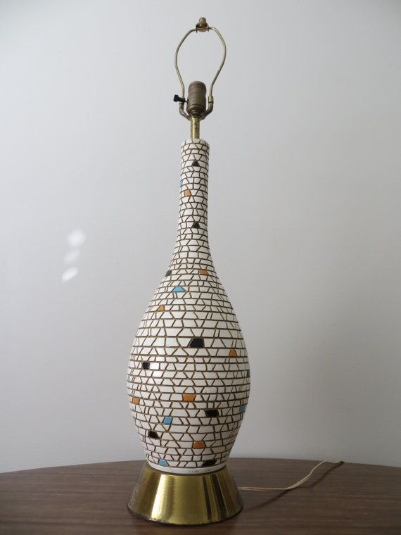 Mid Century Modern Mosaic Tile Tall Table Lamp Tall Table Lamps Modern Mosaic Tile Mosaic Lamp