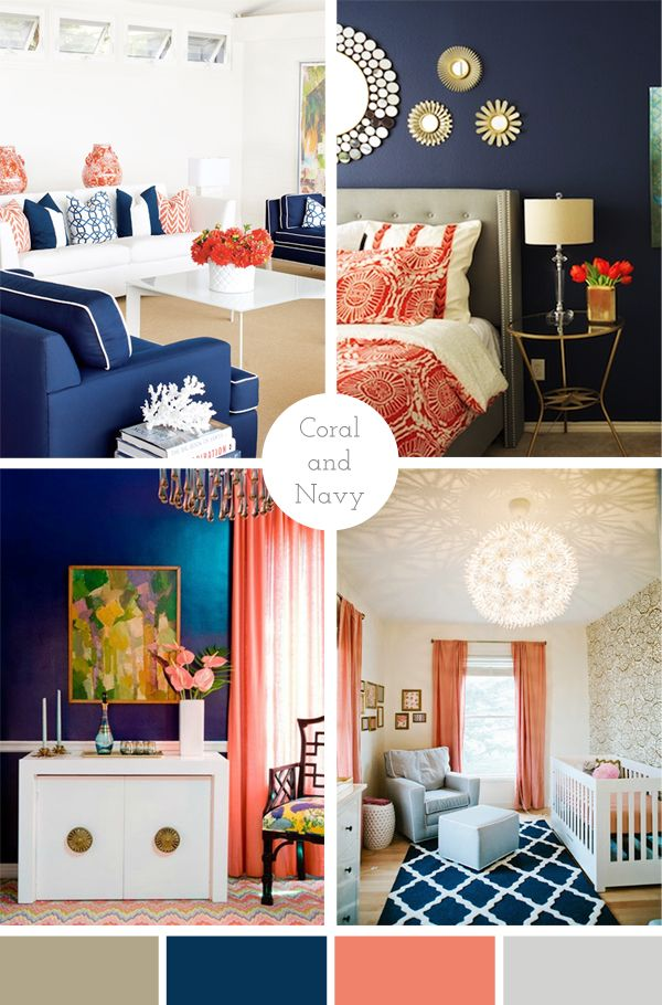 complimentary colors for navy blue- home decor Living Room via - Orange Bedrooms